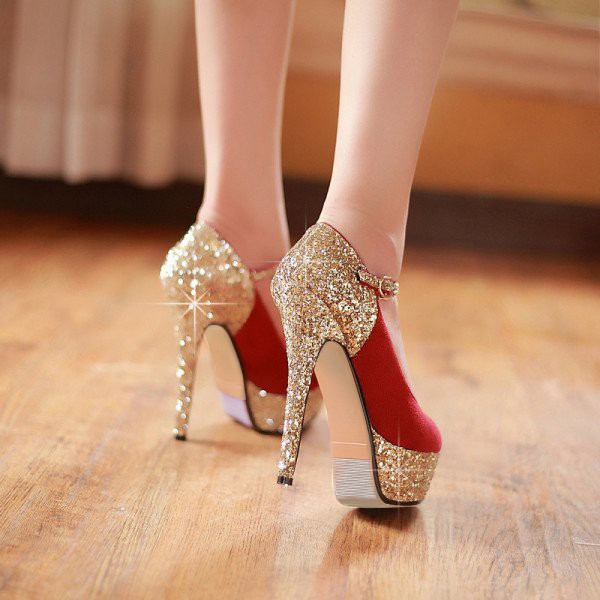 Women's Coral Red Glitter Golden Ankle Strap Pumps Platform Shoes image 3