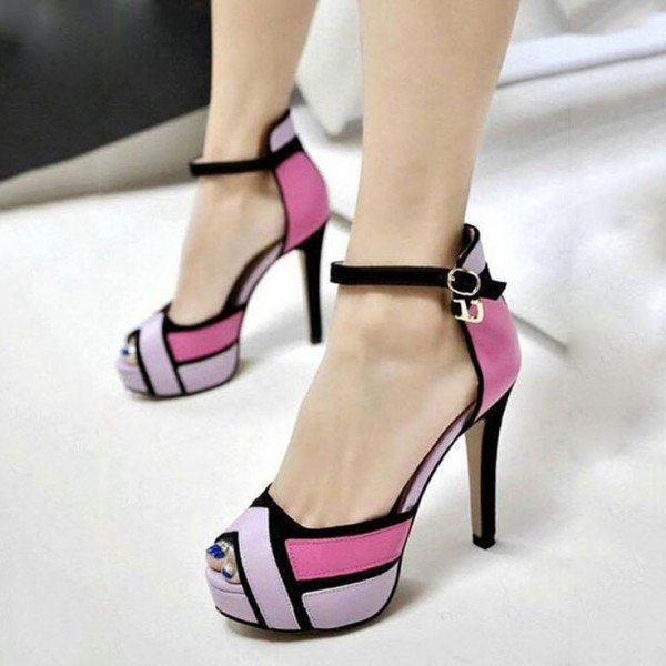 Pink and Orchid Peep Toe Heels Ankle Strap Suede Sandals image 1