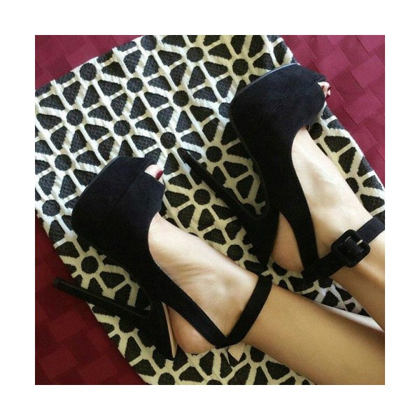 Black Ankle Strap Sandals Slingback High Heels Shoes image 1