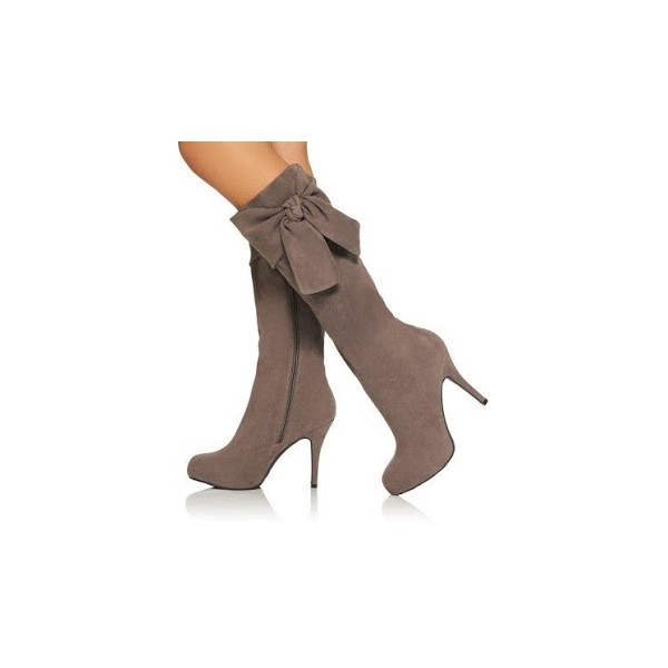 Brown Side Bow Suede Lone Boots Stiletto Heel Knee higeh Boots image 1
