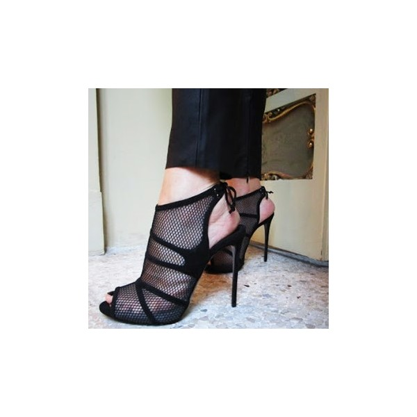 Black Peep toe Mesh Summer Boots Back Lace up Stiletto Heel Sandals image 1