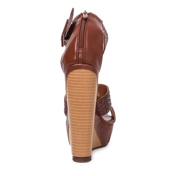 Tan Wedge Sandals Knit Ankle Buckle Heels image 2