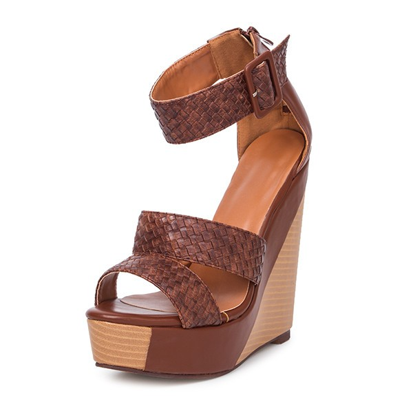 Tan Wedge Sandals Knit Ankle Buckle Heels image 1