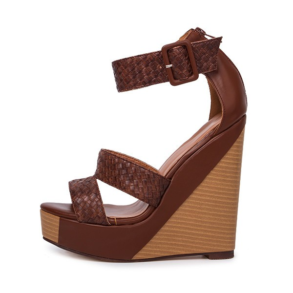 Tan Wedge Sandals Knit Ankle Buckle Heels image 3