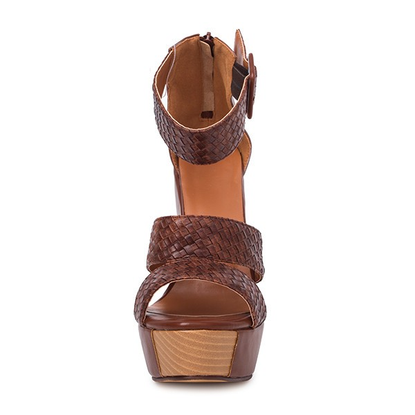 Tan Wedge Sandals Knit Ankle Buckle Heels image 4