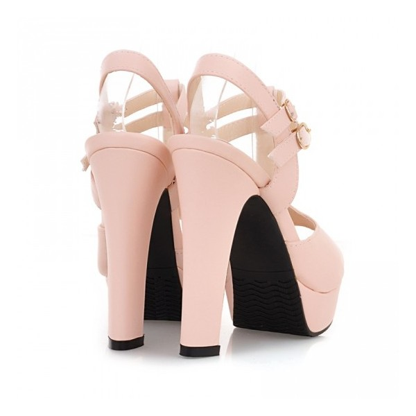 Women's Pink T-Strap Sandals Peep Toe Chunky Heels Ankle Strap Sandals image 2