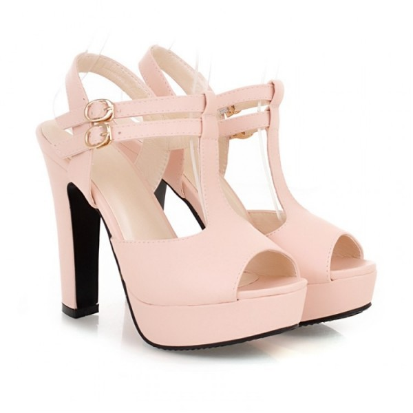 Women's Pink T-Strap Sandals Peep Toe Chunky Heels Ankle Strap Sandals image 3