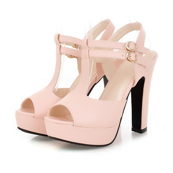 Women's Pink T-Strap Sandals Peep Toe Chunky Heels Ankle Strap Sandals image 1