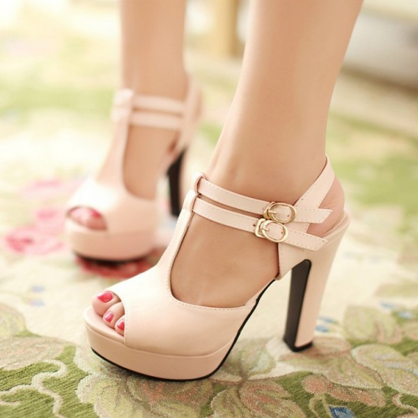 Ivory T Strap Sandals Peep Toe Buckle Chunky Heels Platform Sandals image 3
