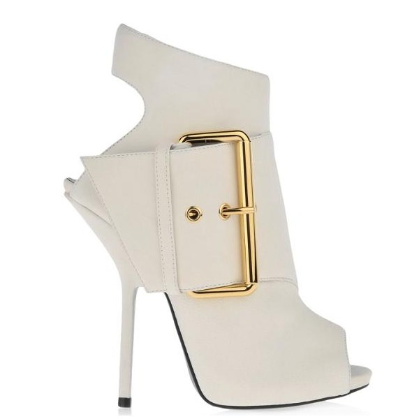 Women's White Peep Toe Heels Slingback Shoes Ankle Fashion Boots  image 2