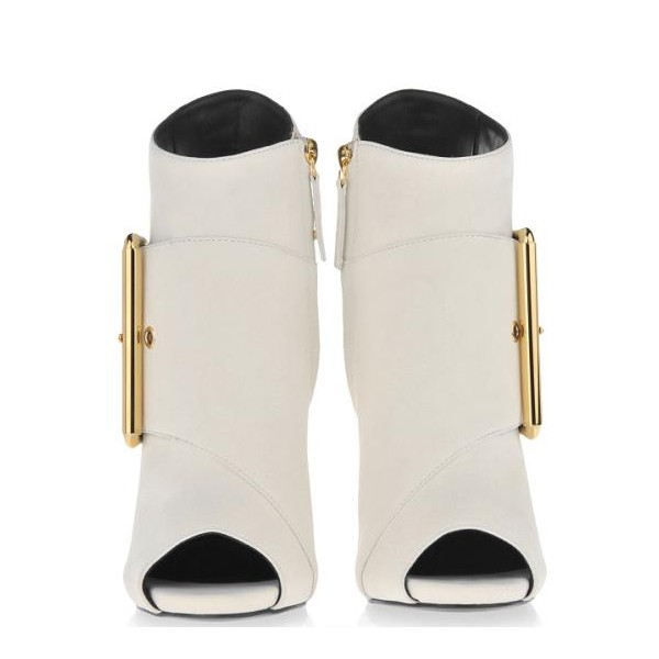 Women's White Peep Toe Heels Slingback Shoes Ankle Fashion Boots  image 3