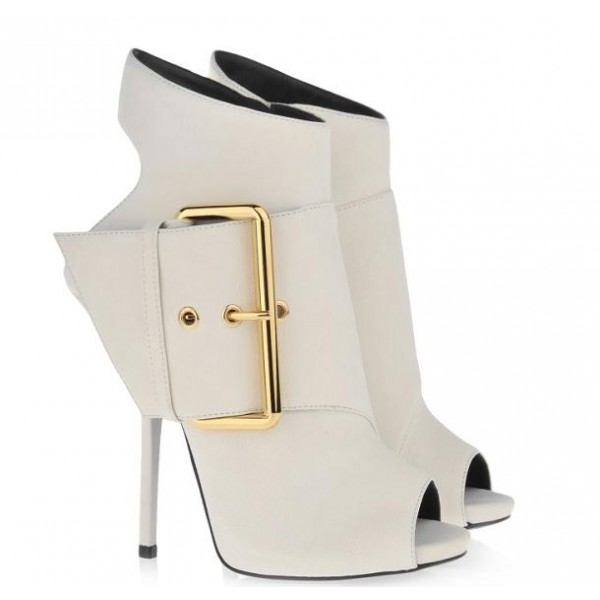 Women's White Peep Toe Heels Slingback Shoes Ankle Fashion Boots  image 4