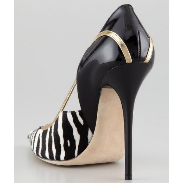Black and White Heels Pointy Toe Zebra Stiletto Heels Pumps image 2
