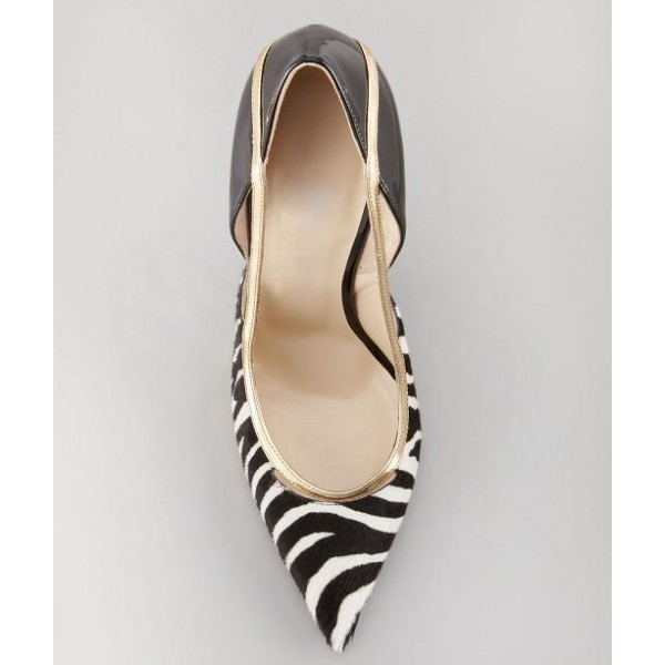 Black and White Heels Pointy Toe Zebra Stiletto Heels Pumps image 3