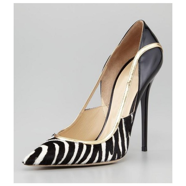 Black and White Heels Pointy Toe Zebra Stiletto Heels Pumps image 5