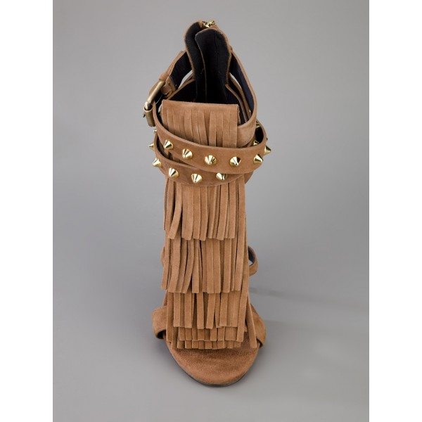 Brown Stiletto Heels Fringe Sandals Rivets Gladiator Heel Sandals image 2