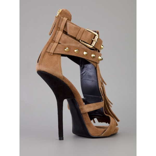 Brown Stiletto Heels Fringe Sandals Rivets Gladiator Heel Sandals image 3