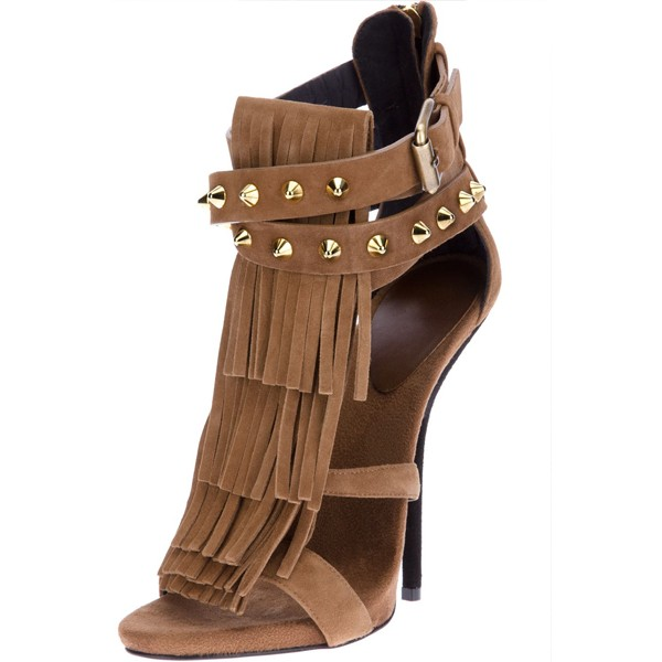 Light Brown Fringe Sandals Open Toe Suede Stiletto Heels Sandals image 1
