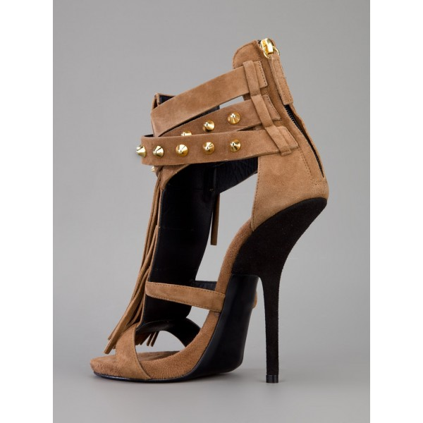 Brown Stiletto Heels Fringe Sandals Rivets Gladiator Heel Sandals image 4