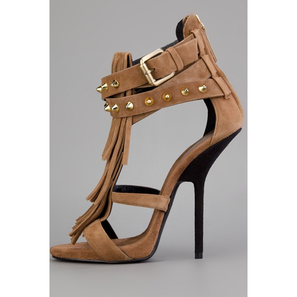 Light Brown Fringe Sandals Open Toe Suede Stiletto Heels Sandals image 5