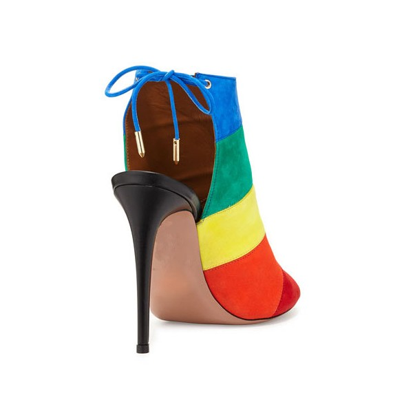 Rainbow Slingback Summer Boots Peep Toe Suede 5 Inches Stiletto Heels Ankle Booties image 3