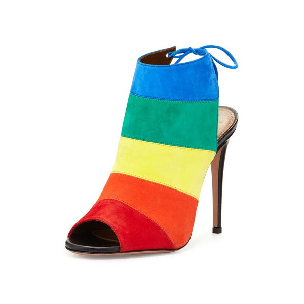 Rainbow Slingback Summer Boots Peep Toe Suede 5 Inches Stiletto Heels Ankle Booties image 1