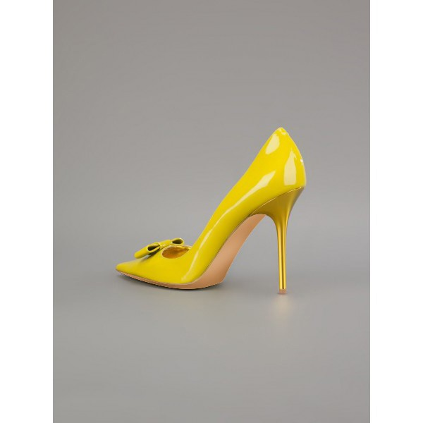 Women's Yellow Stiletto Heels Front Bow Pointed Toe Dress Shoes by FSJ image 5