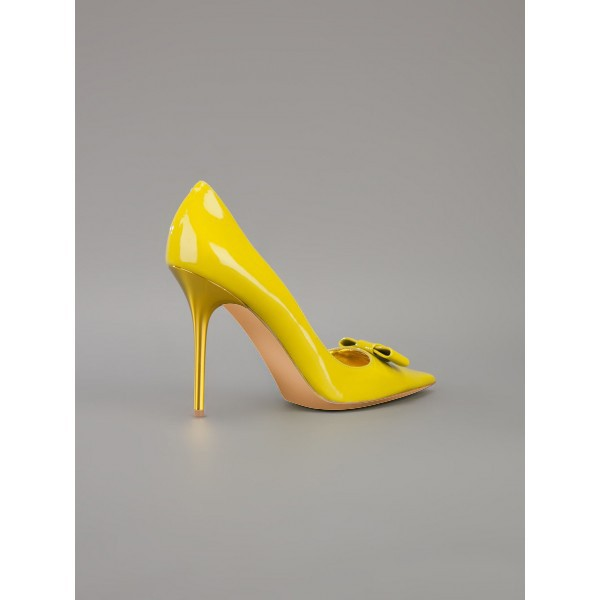 Women's Yellow Stiletto Heels Front Bow Pointed Toe Dress Shoes by FSJ image 2