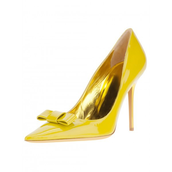 Women's Yellow Stiletto Heels Front Bow Pointed Toe Dress Shoes by FSJ image 1