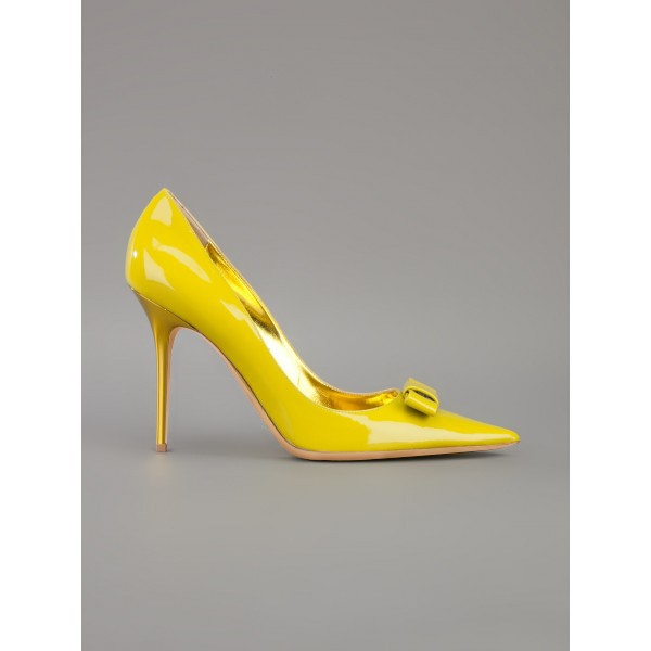 Women's Yellow Stiletto Heels Front Bow Pointed Toe Dress Shoes by FSJ image 4