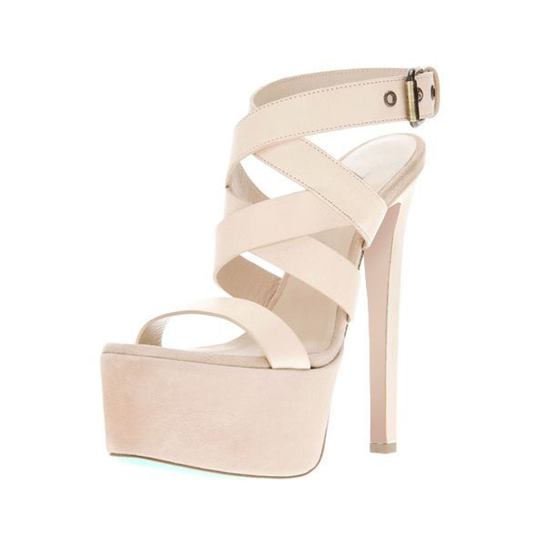 Women's Lillian White Paltform High Heels Strappy Sandals image 1
