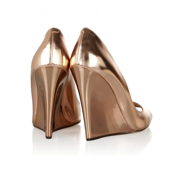Champagne Metallic Heels Peep Toe Wedge Pumps High Heel Shoes image 3