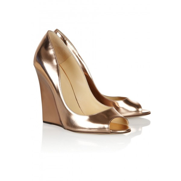 Champagne Metallic Heels Peep Toe Wedge Pumps High Heel Shoes image 4