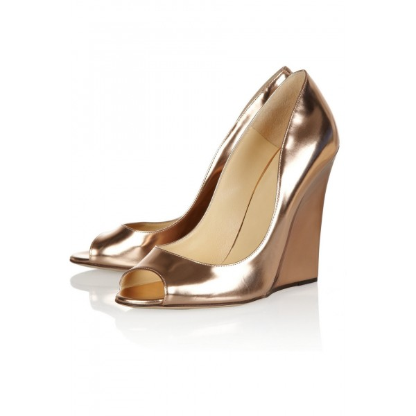 Champagne Metallic Heels Peep Toe Wedge Pumps High Heel Shoes image 1