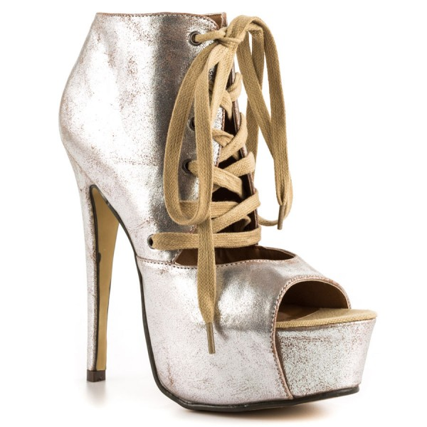 1683b604998 Silver Lace up Heels Peep Toe Platform Ankle Boots High Heels Shoes