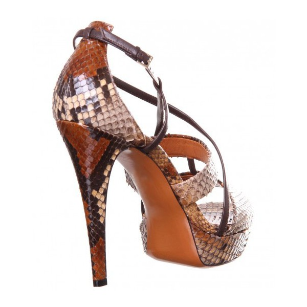 Women's Brown Open Toe Stiletto Heels Strappy Sandals image 2