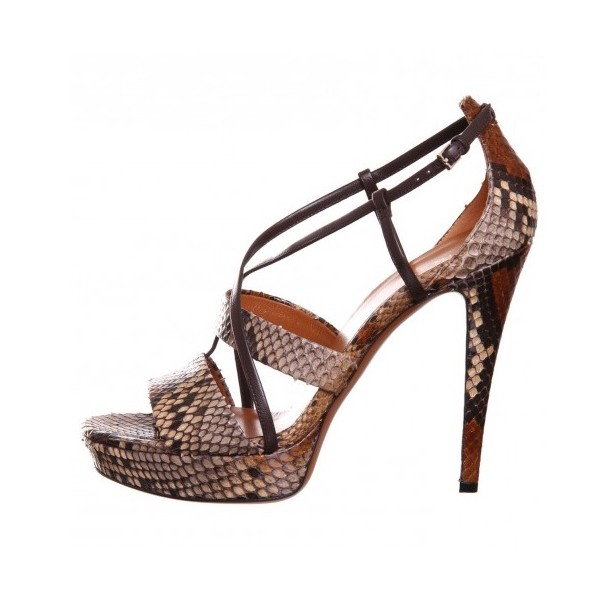 Women's Brown Open Toe Stiletto Heels Strappy Sandals image 4