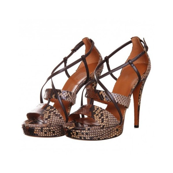 Women's Brown Open Toe Stiletto Heels Strappy Sandals image 1