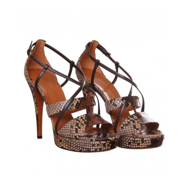 Women's Brown Open Toe Stiletto Heels Strappy Sandals image 5