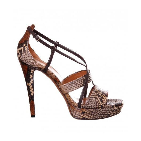 Women's Brown Open Toe Stiletto Heels Strappy Sandals image 3