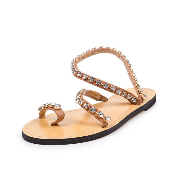 Tan Summer Sandals Rhinestone Flat Beach Sandals US Size 3-15 image 1