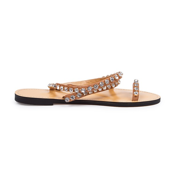 Tan Summer Sandals Rhinestone Flat Beach Sandals US Size 3-15 image 3