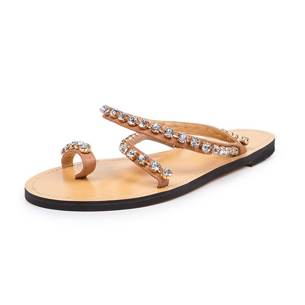 Tan Summer Sandals Rhinestone Flat Beach Sandals US Size 3-15 image 4