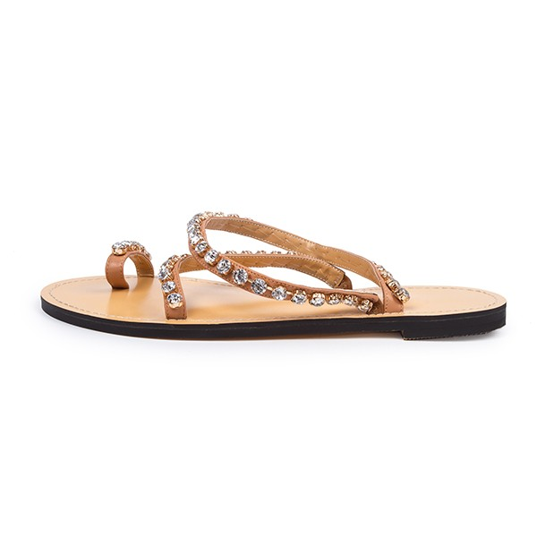 Tan Summer Sandals Rhinestone Flat Beach Sandals US Size 3-15 image 5