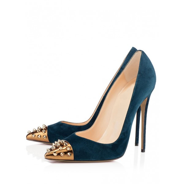 Women's Dark Blue Office Heels Pointed Toe Rivets Stiletto Heels Pumps image 1