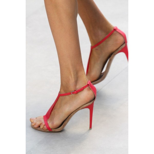 Women's Red T-strap Sandals Open Toe Stiletto Heels Summer Sandals image 2