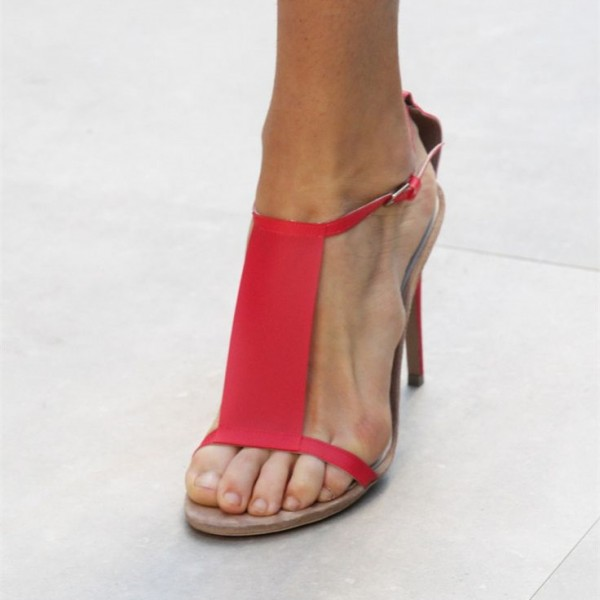 Women's Red T-strap Sandals Open Toe Stiletto Heels Summer Sandals image 1