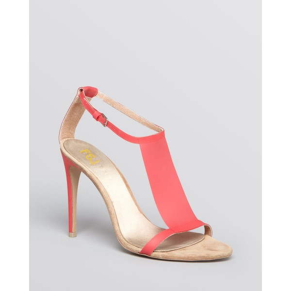 Women's Red T-strap Sandals Open Toe Stiletto Heels Summer Sandals image 5