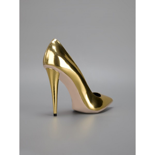 Gold Metallic Heels Pointy Toe Cone Heel Pumps for Party image 5
