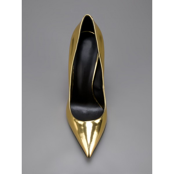 Gold Metallic Heels Pointy Toe Cone Heel Pumps for Party image 2